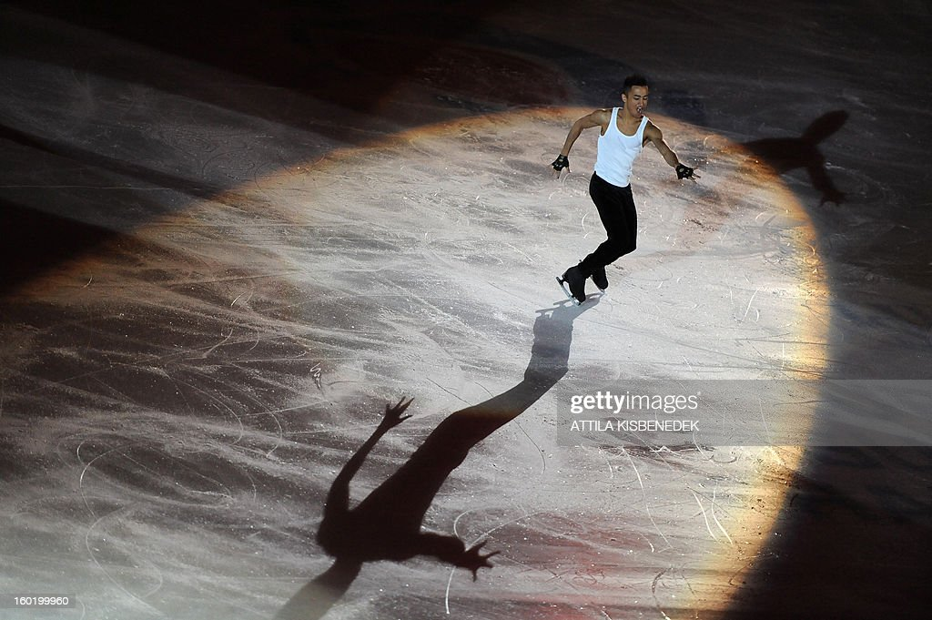 France's Florent Amodio performs on ice at the 'Dom Sportova' sports hall in Zagreb on January 27, 2013 during the gala of the ISU European Figure Skating Championships.