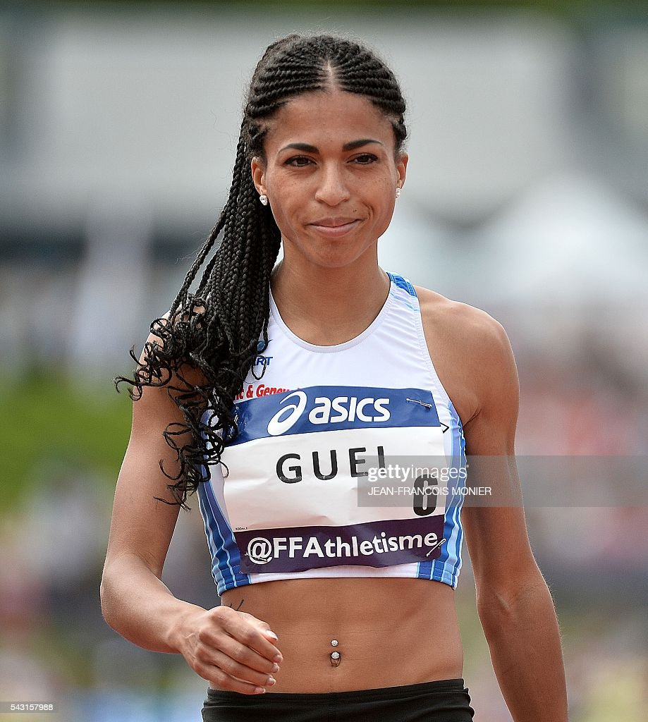 France's Floria Guei reacts after winning the 400m final at the French Athletics Elite championships on June 26, 2016 at the Lac de Maine stadium in Angers, western France. / AFP / JEAN