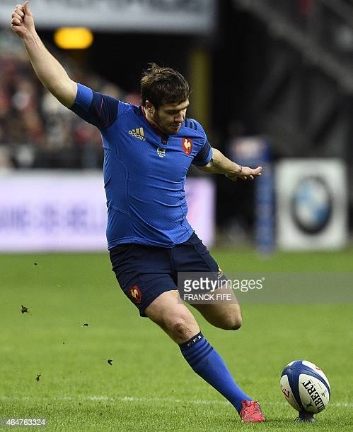 France's fly half Camille Lopez kicks a penalty during the Six Nations international rugby union match between France and Wales on February 28 2015...
