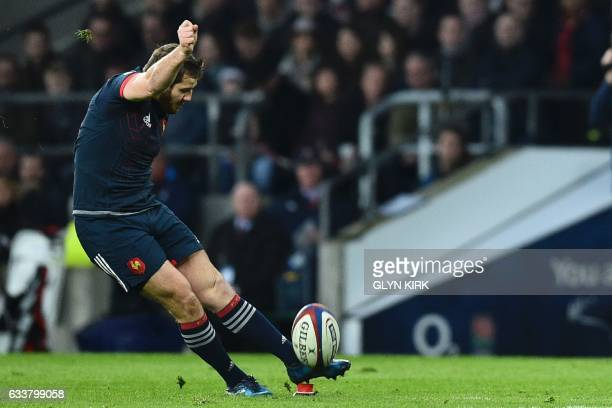 France's flyhalf Camille Lopez kicks a penalty to score during the Six Nations international rugby union match between England and France at...