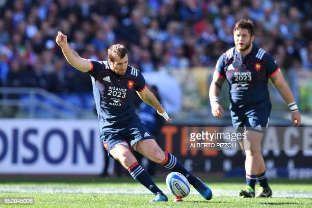 France's flyhalf Camille Lopez kicks the ball during the International Six Nations rugby union match Italy vs France on March 11 2017 at the Olympic...