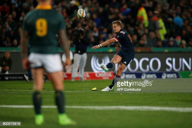 France's flyhalf Jules Plisson kicks a penalty during the third rugby union Test match between South Africa and France at The Emirates Ellis Park...