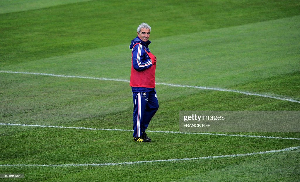 France's football national team coach Raymond Domenech looks at his players during a team training session ahead of the 2010 FIFA World Cup on June 6, 2010 in Knysna.