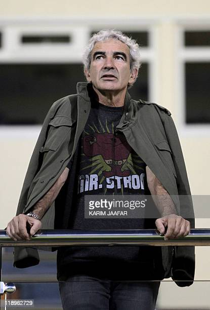 France's former football coach Raymond Domenech attends the Qatari championship final football match between Lekhwiya and Umm Salal in Doha on April...
