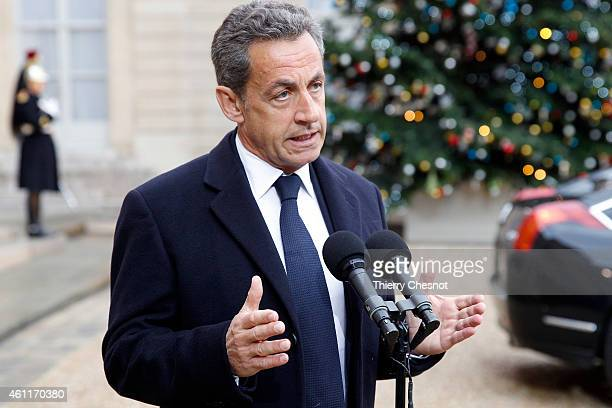 France's former President and leader of the rightwing UMP party Nicolas Sarkozy speaks at the Elysee Palace on January 8 2015 in Paris France French...