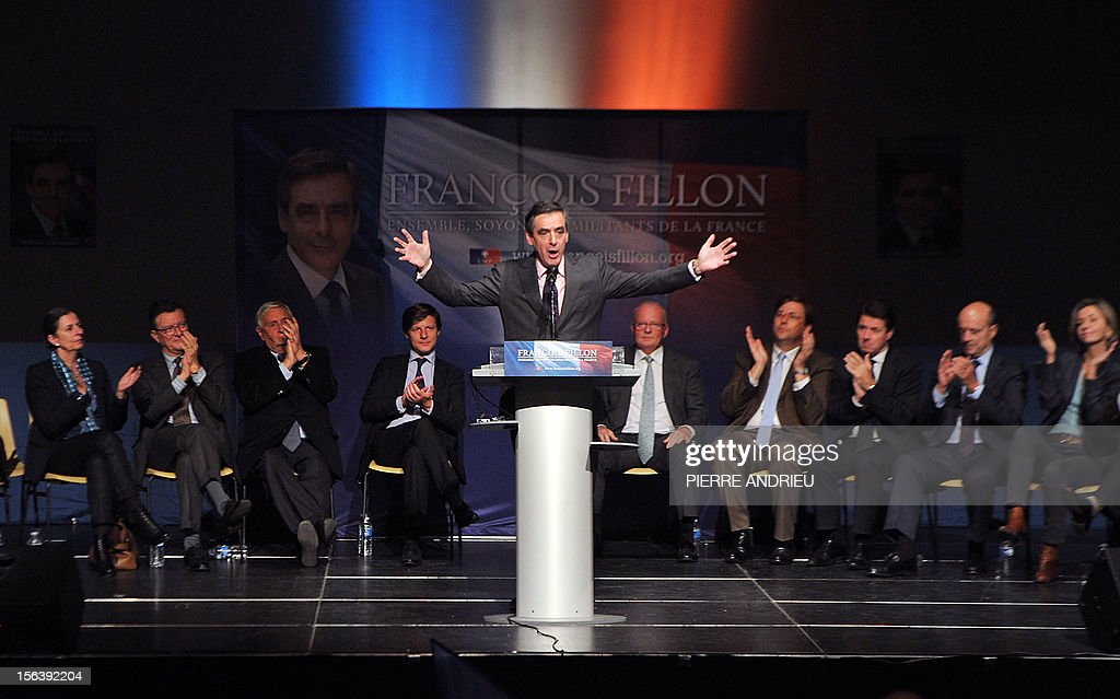France's former Prime Minister Francois Fillon delivers a speech on November 14, 2012 in Gradignan near Bordeaux, in southwestern France, during a public meeting as part of his campaign to take over the leadership of France's main right-wing opposition UMP party next November 18.