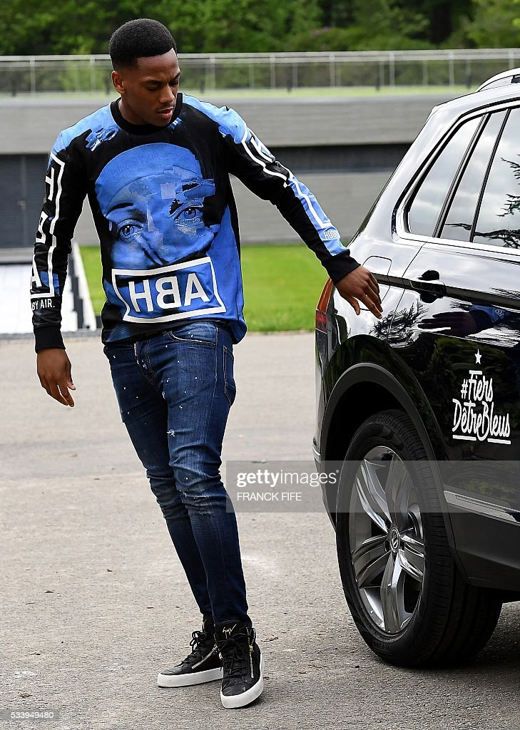 France's forward Anthony Martial arrives at the French national football team training base in Clairefontaine on May 24, 2016, on May 18, 2016, as part of the team's preparation for the upcoming Euro 2016 European football championships.