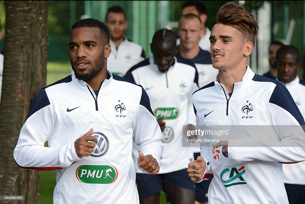 France's forward <a gi-track='captionPersonalityLinkClicked' href=/galleries/search?phrase=Antoine+Griezmann&family=editorial&specificpeople=7197539 ng-click='$event.stopPropagation()'>Antoine Griezmann</a>(R) and <a gi-track='captionPersonalityLinkClicked' href=/galleries/search?phrase=Alexandre+Lacazette&family=editorial&specificpeople=6927653 ng-click='$event.stopPropagation()'>Alexandre Lacazette</a> (L) during a training session at the French national football team centre in Clairefontaine-en-Yvelines, on September 1, 2014 in Clairefontaine, France. The first day of their training ahead before the friendly football match against Spain team.