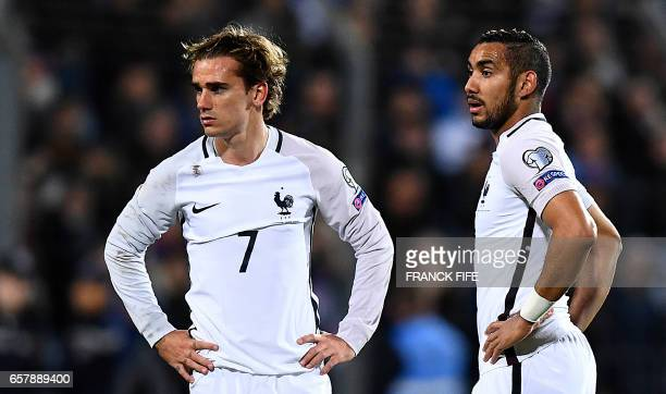 France's forward Antoine Griezmann and France's forward Dumitri Payet look on during the FIFA World Cup 2018 qualifying football match Luxembourg vs...