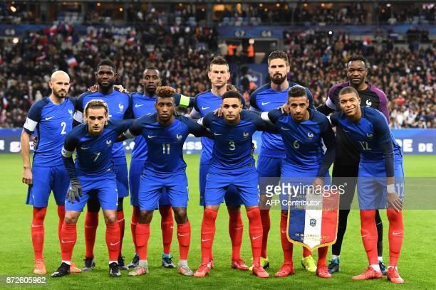France's forward Antoine Griezmann France's forward Kingsley Coman France's defender Layvin Kurzawa France's midfielder Corentin Tolisso France's...