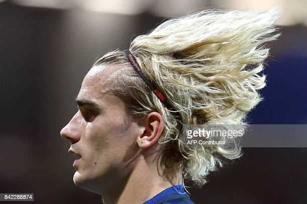 TOPSHOT France's forward Antoine Griezmann looks on during the FIFA World Cup 2018 qualifying football match France vs Luxembourg on September 3 2017...