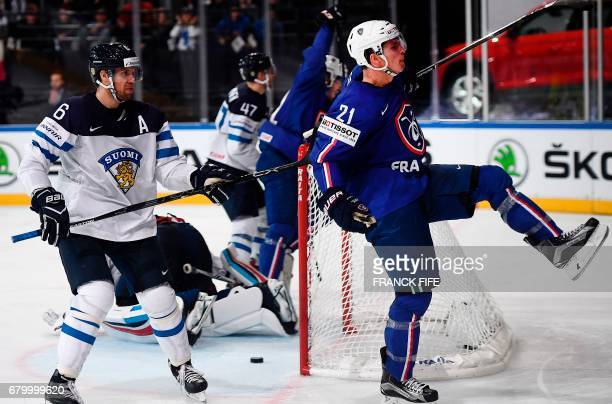 France's forward Antoine Rossel celebrates his goal during the IIHF Men's World Championship group B ice hockey match between Finland and France in...