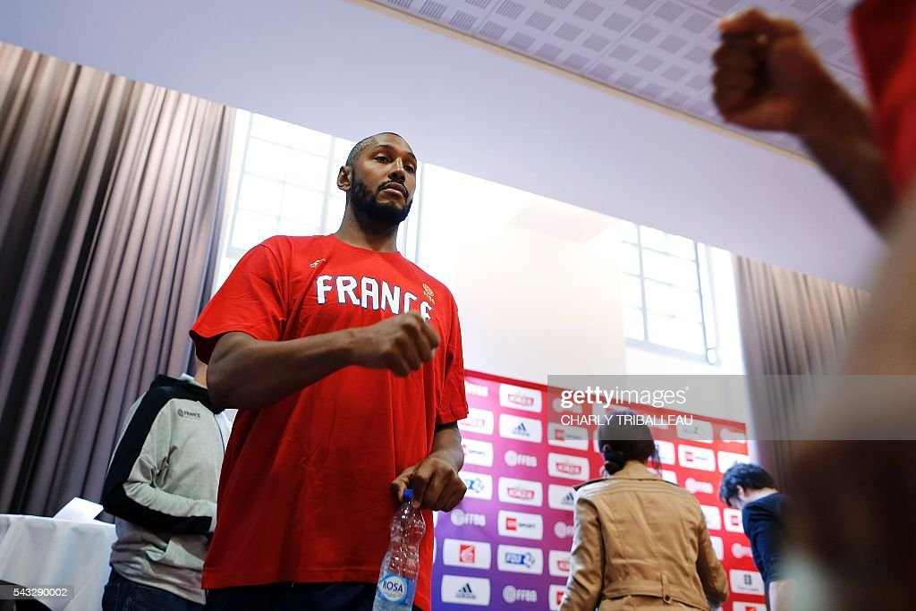 France's forward Boris Diaw arrives for a press conference on June 27, 2016 in Rouen, northwestern France a day before the basketball match between France and Japan. / AFP / CHARLY
