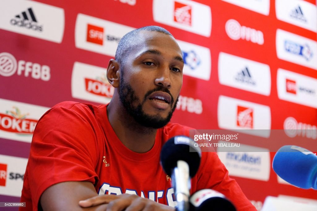 France's forward Boris Diaw speaks during a press conference on June 27, 2016 in Rouen, northwestern France a day before the basketball match between France and Japan. / AFP / CHARLY