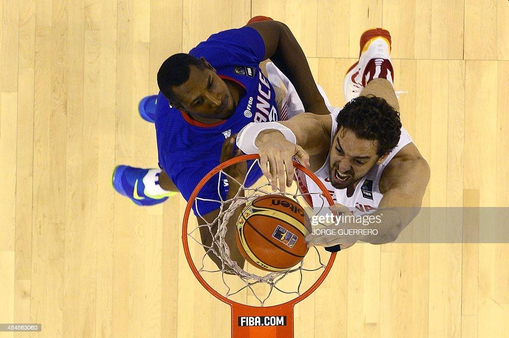 France's forward Boris Diaw vies with Spain's forward Pau Gasol during the 2014 FIBA World basketball championships group A match Spain vs France at...