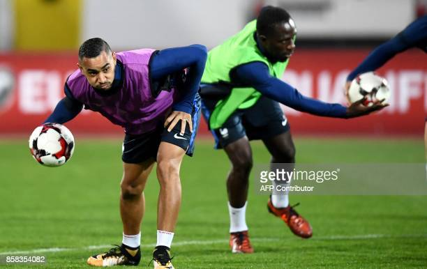 France's forward Dimitri Payet and midfielder Moussa Sissoko take part in a training session at The Vasil Levski Stadium in Sofia on October 6 on the...