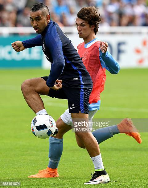 France's forward Dimitri Payet controls the ball during the friendly match between French national football team and Bayonne at the Aguilera stadium...