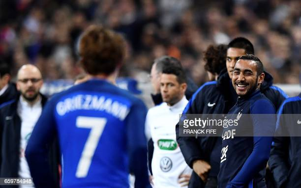 France's forward Dimitri Payet smiles during the friendly football match France vs Spain on March 28 2017 at the Stade de France stadium in...