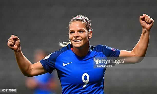 France's forward Eugenie Le Sommer celebrates after scoring a goal during the Women Euro 2017 qualifying football match France vs Albania at the...