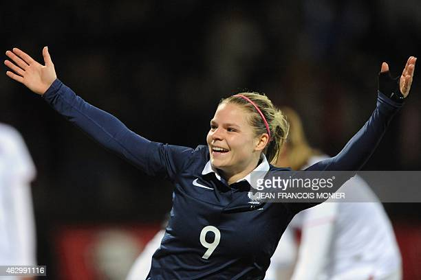 France's forward Eugenie Le Sommer celebrates after scoring during the Women's friendly football match between France and the US at the Moustoir...