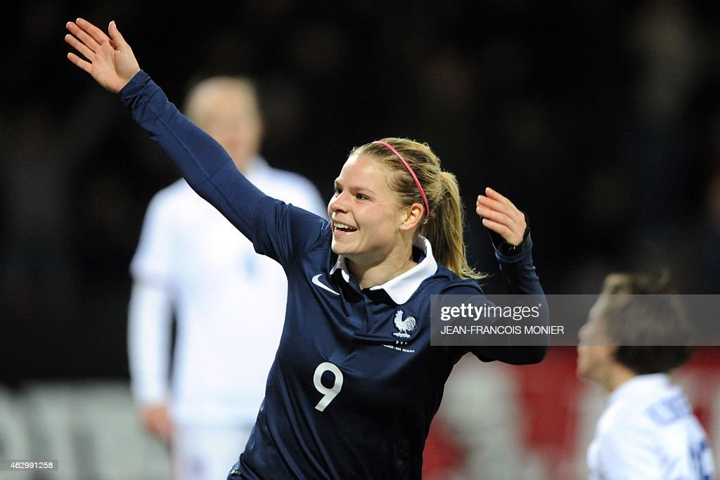France's forward <a gi-track='captionPersonalityLinkClicked' href=/galleries/search?phrase=Eugenie+Le+Sommer&family=editorial&specificpeople=1026277 ng-click='$event.stopPropagation()'>Eugenie Le Sommer</a> celebrates after scoring during the Women's friendly football match between France and the US at the Moustoir Stadium, in Lorient, western France, on February 8, 2015.