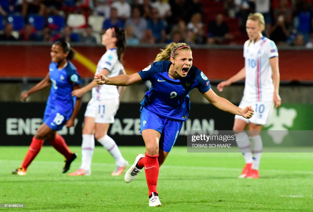 TOPSHOT - France's forward Eugenie Le Sommer celebrates after scoring during the UEFA Women's Euro 2017 football match between France and Iceland at Stadium Koning Wilhelm II in Tilburg on July 18, 2017. /