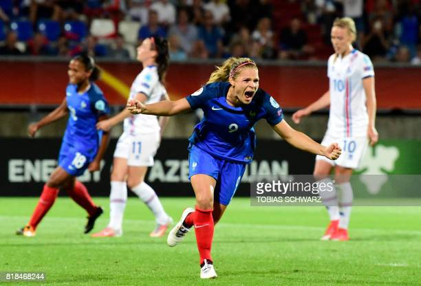 TOPSHOT France's forward Eugenie Le Sommer celebrates after scoring during the UEFA Women's Euro 2017 football match between France and Iceland at...