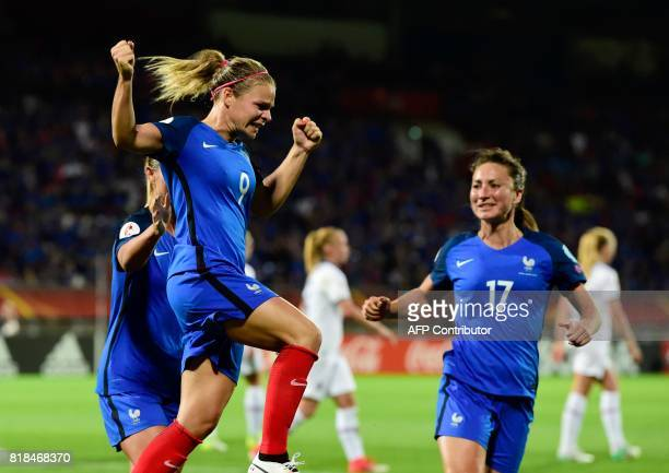 France's forward Eugenie Le Sommer celebrates after scoring during the UEFA Women's Euro 2017 football match between France and Iceland at Stadium...