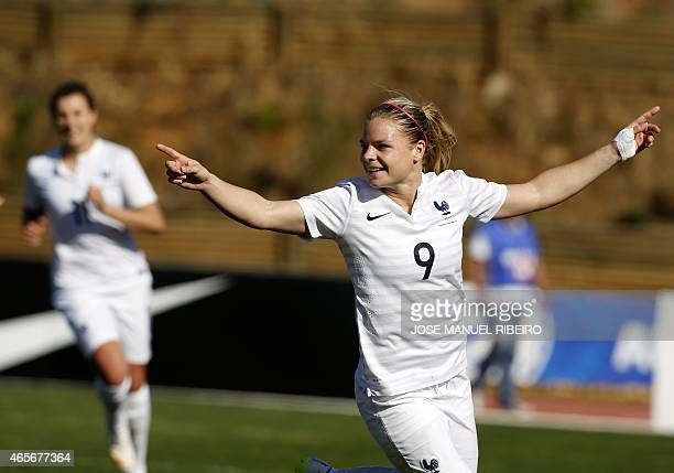 France's forward Eugenie Le Sommer celebrates her goal during the Algarve Cup football match Japan vs France at the Bela Vista stadium in Parchal on...