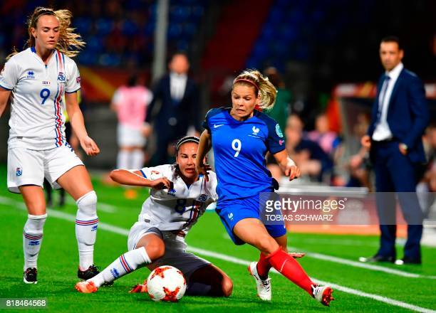 France's forward Eugenie Le Sommer outruns Iceland's midfielder Sigridur Gardarsdottir during the UEFA Women's Euro 2017 football tournament match...