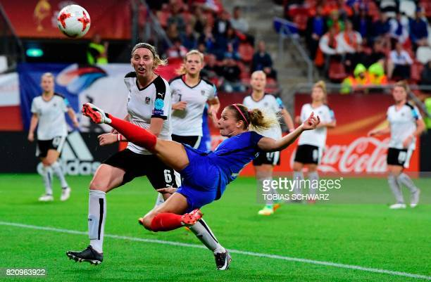 TOPSHOT France's forward Eugenie Le Sommer tries to score during the UEFA Women's Euro 2017 football tournament between France and Austria at the...