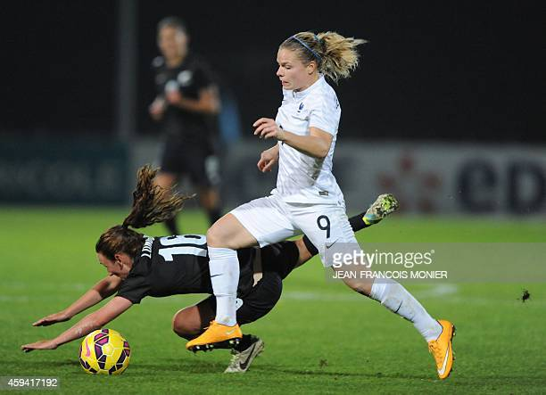 France's forward Eugenie Le Sommer vies for the ball with New Zealand midfielder Annalie Longo during the Women's friendly football match France...