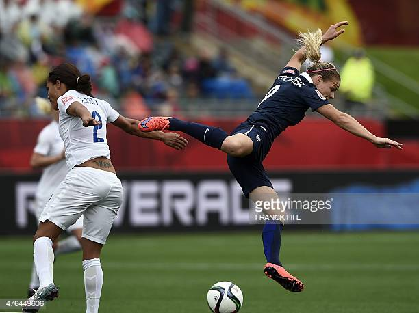 France's forward Eugenie Le Sommer vies with England's defender Alex Scott during a Group F match at the 2015 FIFA Women's World Cup between France...
