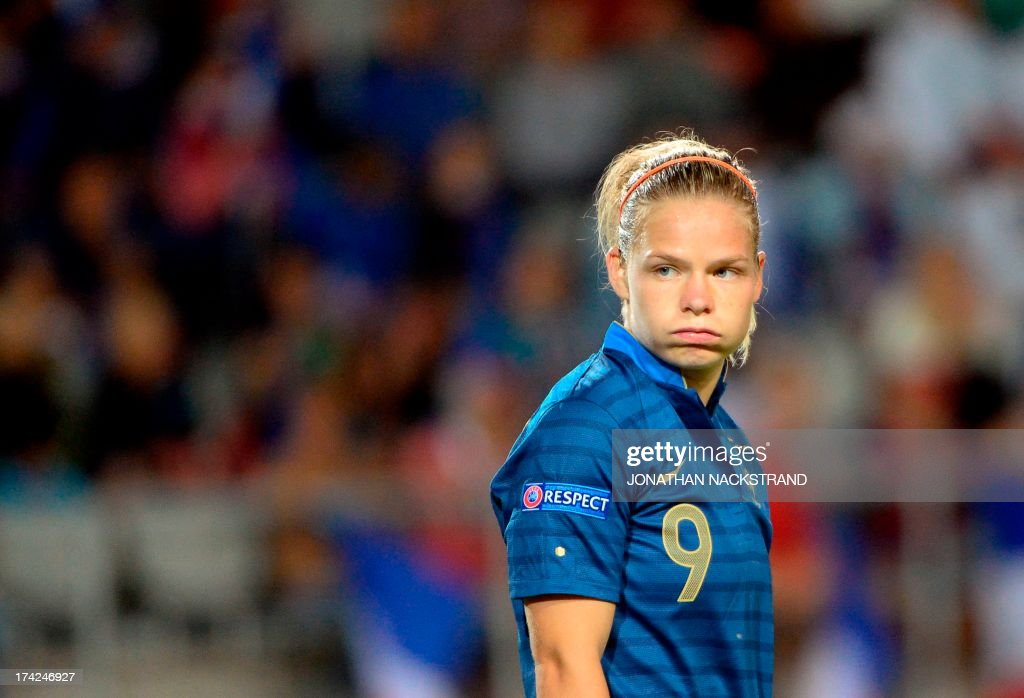 France's forward Eugnie Le Sommer reacts during the UEFA Women's European Championship Euro 2013 quarter final football match France vs Denmark on July 22, 2013 in Linkoping, Sweden.