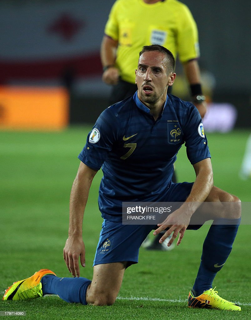 France's forward Franck Ribéry reacts during the FIFA World Cup 2014 qualifying football match Georgia vs France on September 6 2013 at the Boris Paichadze stadium in Tbilisi. AFP PHOTO / FRANCK FIFE