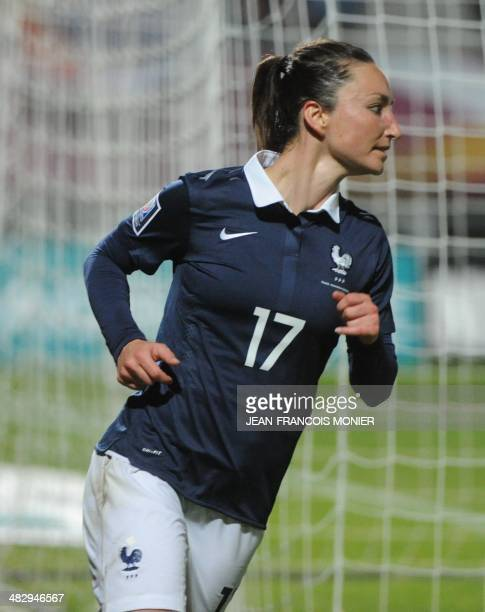 France's forward Gaetane Thiney reacts after scoring during the World Cup 2015 qualifying football match France vs Kazakhstan on April 5 at the Jean...