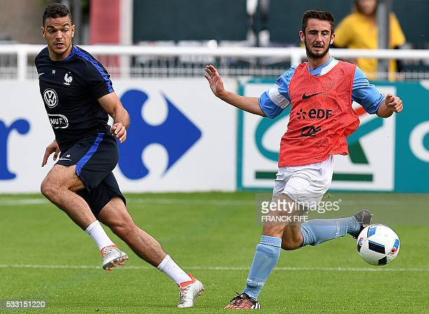 France's forward Hatem Ben Arfa passes the ball during a friendly football match between French national football team and Bayonne at the Aguilera...