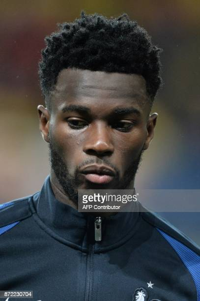 France's forward Jonathan Bamba poses before the Euro 2018 U21 qualifying football match between France and Bulgaria at MMArena Stadium in Le Mans...