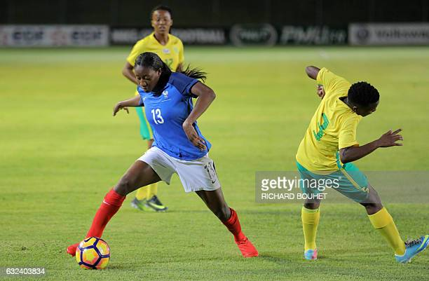 France's forward Kadidiatou Diani vies for the ball during the friendly football match between France and South Africa on January 22 2017 at the Jean...