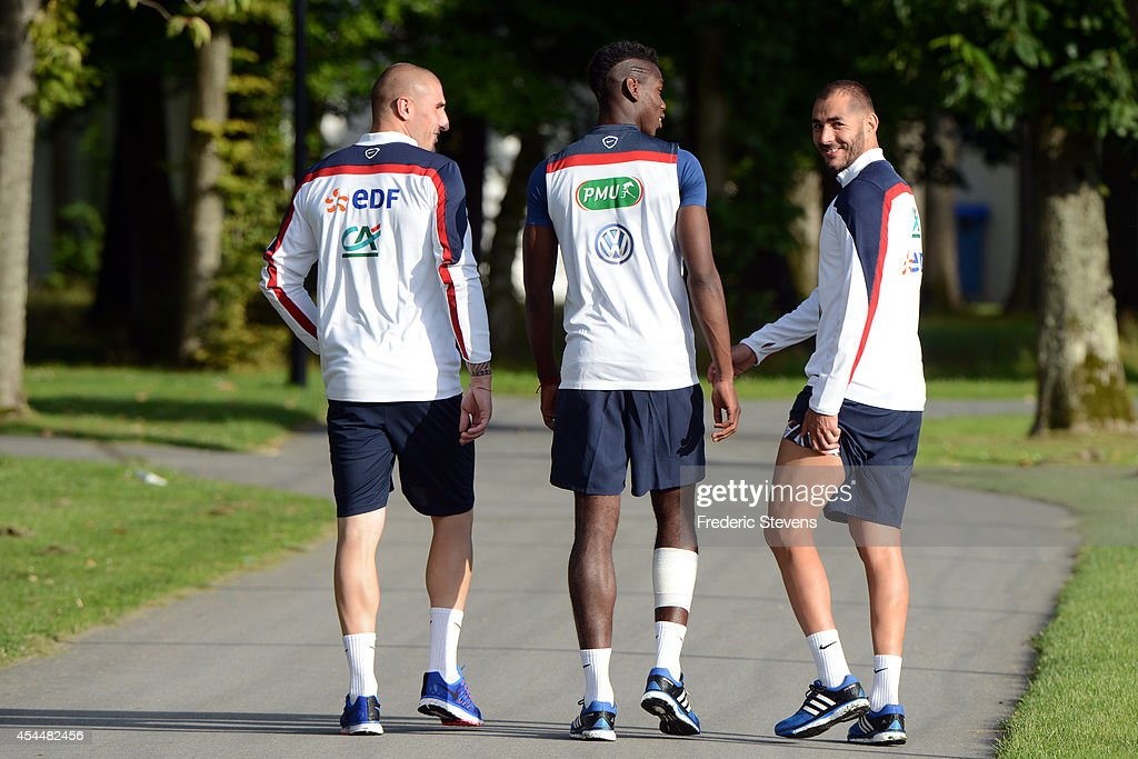 France's forward <a gi-track='captionPersonalityLinkClicked' href=/galleries/search?phrase=Karim+Benzema&family=editorial&specificpeople=796089 ng-click='$event.stopPropagation()'>Karim Benzema</a> during a training session at the French national football team centre in Clairefontaine-en-Yvelines, on September 1, 2014 in Clairefontaine, France. The first day of their training ahead before the friendly football match against Spain team.