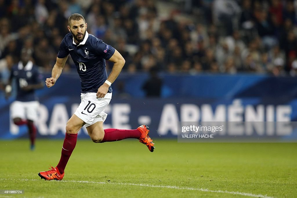 France's forward Karim Benzema runs during the friendly football match between France and Armenia on October 8 2015 at the Allianz Riviera stadium in...
