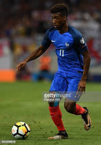 France's forward Kingsley Coman controls the ball during the FIFA World Cup 2018 qualifying football match between France and Luxembourg on September...