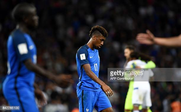 France's forward Kingsley Coman leaves the pitch at the end of the FIFA World Cup 2018 qualifying football match France vs Luxembourg at The...