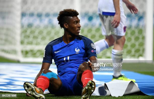 France's forward Kingsley Coman reacts during the FIFA World Cup 2018 qualifying football match France vs Luxembourg at The Municipal Stadium in...