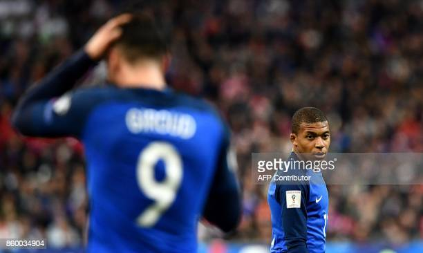 France's forward Kylian Mbappe is pictured during the FIFA World Cup 2018 qualification football match between France and Belarus at the Stade de...