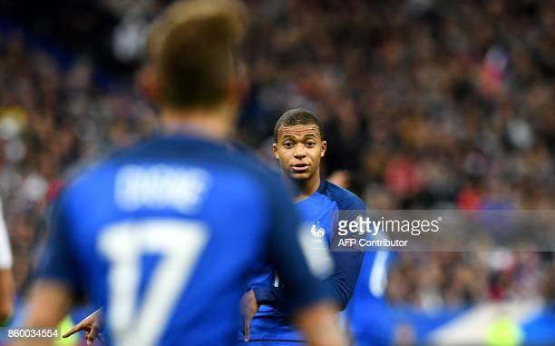 France's forward Kylian Mbappe is seen during the FIFA World Cup 2018 qualification football match between France and Belarus at the Stade de France...