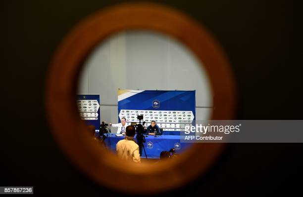 France's forward Kylian Mbappe speaks during a press conference in ClairefontaineenYvelines on October 5 as part of the team's preparation for the...