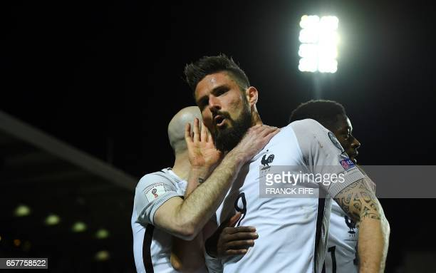 France's forward Olivier Giroud celebrates his goal during the FIFA World Cup 2018 qualifying football match Luxembourg vs France on March 25 2017 at...