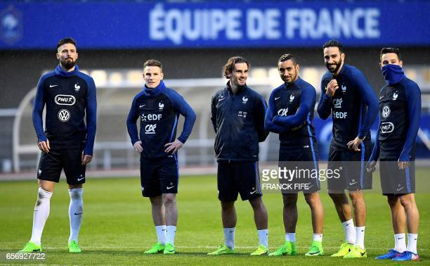France's forward Olivier Giroud France's forward Kevin Gameiro France's forward Antoine Griezmann France's forward Dumitri Payet and France's...
