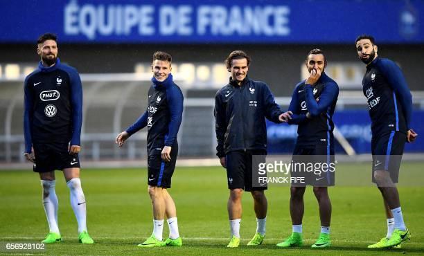 France's forward Olivier Giroud France's forward Kevin Gameiro France's forward Antoine Griezmann France's forward Dumitri Payet Aand France's...